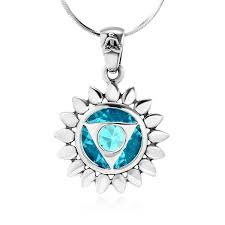 925 sterling silver blue glass