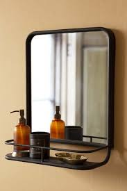 black almost square bathroom mirror