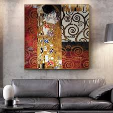 Unframed Printed Poster Gustav Klimt Kiss Reproductions Classic Canvas Modern Oil Art Home Wall Decal Wish