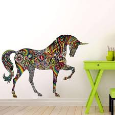 Rainbow Unicorn Wall Decal Large Unicorn Wall Sticker