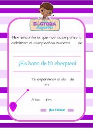 Invitacion De La Doctora Juguetes Gratis Para Descargar Y Solo