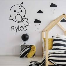 Personalized Narwhal Whale For Kids Vinyl Decor Wall Decal Customvinyldecor Com