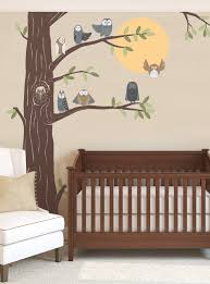 Friendly Forest Owls With Corner Tree Wall Decal Simple Shapes