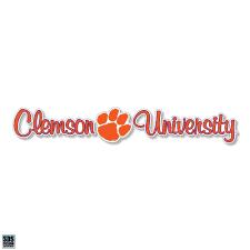 Sds Design Clemson University 10 Script Decal With Paw Mr Knickerbocker