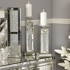 glitz mirrored small candle holder