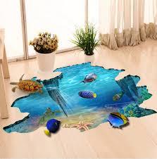 3d Sea Underwater World 3d Fishs Turtle Fish Wall Stickers Underwater Floor Decal Stickers Wish