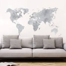Watercolor World Map Gray Wall Decal World Map Wall Decor Color World Map Map Wall Decal