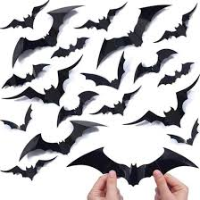 Amazon Com 120pcs 4size 3d Bats Sticker Diy Halloween Party Supplies Reusable Decorative Scary Wall Decal For Home Window Clings Decorations Kitchen Dining