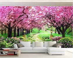 Beibehang مخصص ثلاثية الأبعاد صور خلفيات شجرة الكرز حديقة مسار