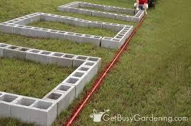 raised garden bed using concrete blocks