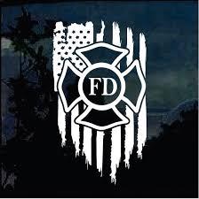 Fireman Fire Dept Weathered Flag Decal Sticker Firefighter Decals Car Decals Vinyl Firefighter Stickers