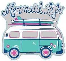 Surfer Van Sticker Mermaid Life