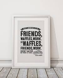 leslie knope friends waffles work typographic poster