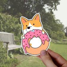 3 Pcs Corgi Sticker Donut Vinyl Stickers Cute Dog Laptop Etsy Vinyl Sticker Cute Stickers Macbook Stickers