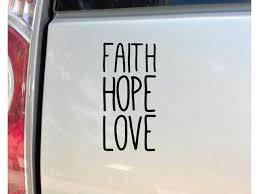 Nashville Decals Faith Hope Love Vinyl Decal Laptop Car Truck Bumper Window Sticker 6 5 X 3 25 Black Newegg Com