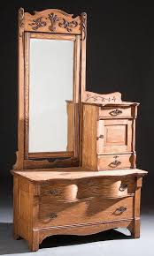 antique oak dresser with mirror and hat