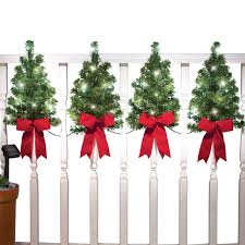 Christmas Trees With Solar Lights And Red Bows Outdoor Fence Decor Home Holiday Accents Attached Hooks For Easy Hanging Walmart Com Walmart Com