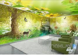 Fairy Tale Forest Deer Butterfly Entire Kids Room Wallpaper 3d Wall Mu Idecoroom