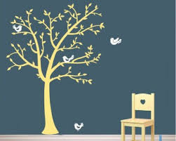 Tree Wall Decals Large Birch Tree Bamboo Nursery Branch Birds Leaves