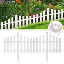 24pcs White Flexible Plastic Garden Picket Fence Lawn Grass Goslash