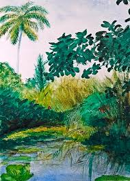 Tropical lake Painting by Byron Bailey
