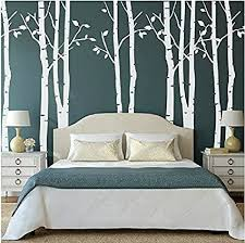 Amazon Com Designyours Tree Wall Decal White Birch Tree Wall Decal Nursery Vinyl Tree Wall Stickers For Living Room Include 9 Trees Home Kitchen