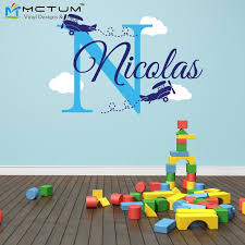 Airplane Clouds Wall Decals Personalized Name Monogram Vinyl Nursery Art Wall Stickers For Boy Kids Rooms Home Decoration Art Wall Sticker Name Wall Stickerswall Sticker Aliexpress