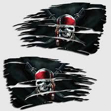 Tattered Jolly Roger Pirate Flag Decal Pirates Of The Caribbean Sticker