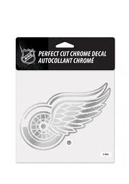 Detroit Red Wings 6x6 Chrome Auto Decal Silver 5713640