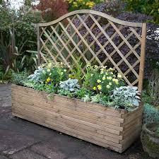 Forest Garden 1 8 M Pressure Treated Wooden Venice Planter Including Trellis Amazon Co Uk Garden Outdoors