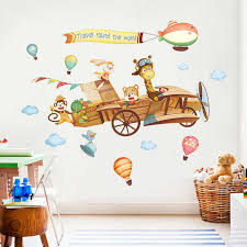 Creative Wall Sticker Kids Room Decoration Baby Bedroom Wall Decor Door Stickers Cartoon Animals Home Decor House Decoration Wall Stickers Aliexpress