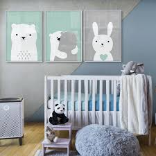 Baby Room Nordic Style Kids Decoration Bunny Bear Poster Wall Picture For Living Room Posters And Prints Wall Art Canvas Prints Picture For Living Room Wall Picturesposters Kids Room Aliexpress