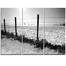 Design Art Mt11008 3p Landscape In Snow With Fence Oversized Beach Metal Wall Art 3 Piece 36x28 Amazon In Home Kitchen