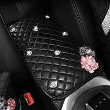 diamond rose pearl car armrest covers