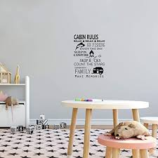 Amazon Com Cabin Rules Make Memories Quote Cabin Camp Camping Scenery Vacation Quotes Wall Decal Sticker Vinyl Art Mural For Girls Boys Campers Home Room Walls Bedroom House Decor Decoration 20x18 Inch