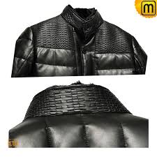 black leather down coat for men cw848387