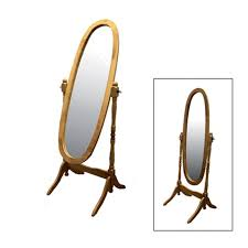 natural wooden cheval floor mirror
