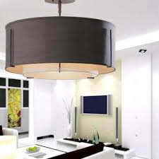 fabric drum semi flush mount light