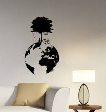 Amazon Com Girl Tree Planet Earth Wall Sticker World Globe Vinyl Decal Ecology Nature Art Geographic Decorations For Home Kids Children S Room Bedroom Decor Ideas Pe2 Baby