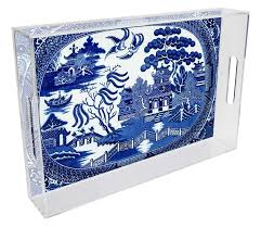 t1386 blue willow personalized lucite tray