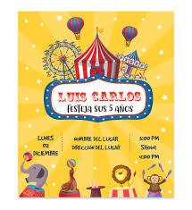 Invitacion Cumpleanos Circo Amarillo Disenos Digitales