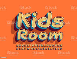 Vector Funny Sign Kids Room With Creative Font 3d Uppercase Alphabet Stock Illustration Download Image Now Istock