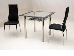 small square glass dining table and 2