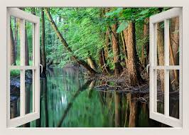 River Scene Wall Decal Forest Wall Sticker Mural 3d Window Etsy