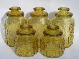 vintage kitchen canisters amber glass