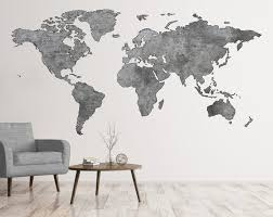 Greyscale Map Wall Art World Map Decal Big World Map Decal Etsy