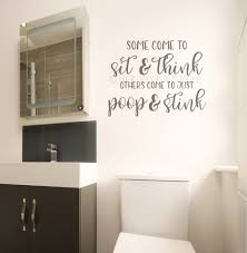 Bathroom Wall Quotes Sit Think Poop Stink Funny Decal Sticker Art Decor