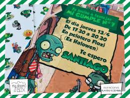 Tarjetas Invitacion Cumple Event Infantil Plantas Vs Zombies