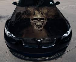 Vinyl Car Hood Wrap Full Color Graphics Decal Skull With Horns Evil Head Sticker Ebay