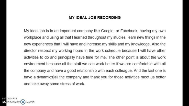 Describe your Ideal Job essay